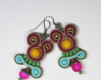 Colorful Soutache Dangle Earrings Beads Women Girls Boho Earrings