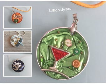Pendants Nespresso Capsules recycled aluminum Metal silvered glass Cocktail-anchor Navy clover 4 leaf-Dragonfly-party birthday