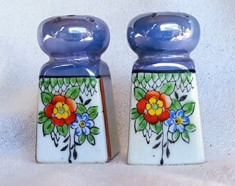 Small Floral Lusterware Salt and Pepper Shakers Japan