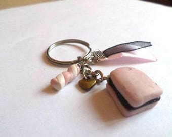 Keychain square pink and black licorice and marshmallow Fimo