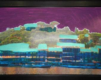 Contemporary Art / Large Painting / Acrylic on Canvas / Home Decor - Beach House 26 x 39 inch