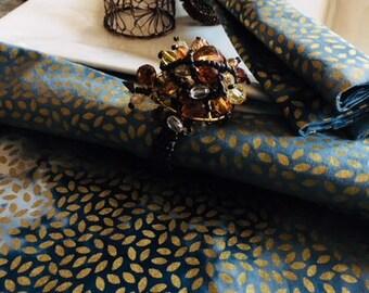 Gold Leaf Denim Table Runner-Reversible