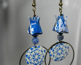 Blue lotus origami flower earrings