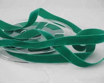 By the yard Green Velvet Ribbon