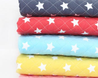 Middle stars Cotton Ready quilted Fabric / BY HALF YARD / free shipping / Pre-quilted / padded / modern star / navy red yellow JQ44<