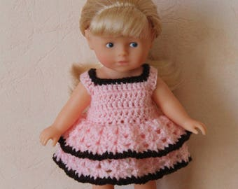 Pink crochet doll dress mini corolline