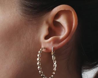 Large Textured Hoop Earrings, Hoop earrings, Gold Hoop earrings, Gold Plated, Large Hoop earrings, Minimalist Jewelry