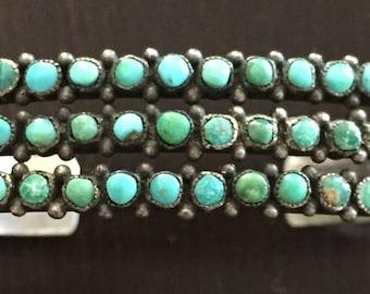 Vintage Native American Turquoise Silver Metal Bracelet, Fred Harvey Era, 3 rows.