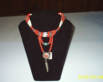 Necklace long red beads for women