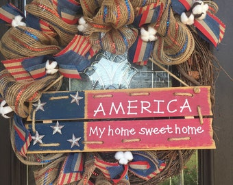 USA Wreath, Patriotic Wreath, 4th of July Wreath, Military Wreath, Memorial Day Wreath, Red White and Blue Wreath, America Wreath, Grapevine