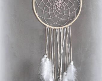 Dream catcher made, linen thread, white feathers, pink thread