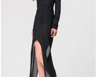 nast chiffon black maxi dress