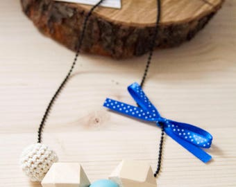 Simple wood cotton Silicone necklace