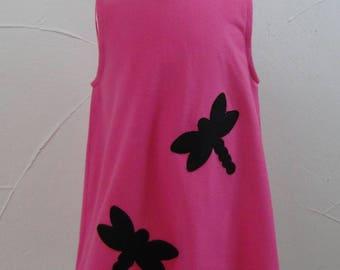 3/4 years micro kids pinafore dress fuchsia fleece