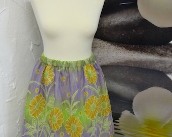 Summer flower with elastic waist skirt