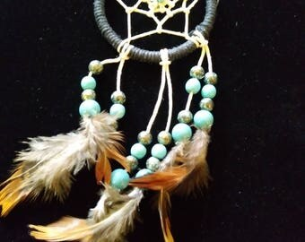 Small Handwrapped Dreamcatcher with Turquoise