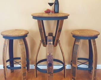 WINE BARREL Hourglass Pub Set Swivel Top Stools Rustic Furniture Bar Bistro Napa FREE Shipping!