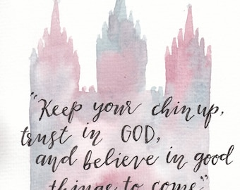 6x8 Original LDS Temple Quote Watercolor