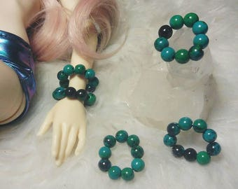 Authentic Green Blue Australian Jasper Crystal Beads BJD MSD Minifee Unoa Stone Jewelry Bracelet Accessories