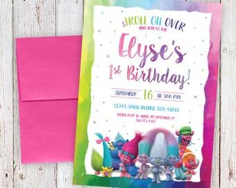 printable Trolls birthday invitation, trolls birthday invite, trolls invitation, kids birthday invitation, trolls invite, trolls birthday