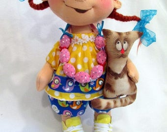 Gift doll for girls. Doll with knitwear soft doll
