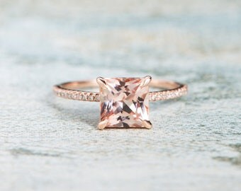 Morganite Ring Rose Gold Princess Cut Engagement Ring Unique Setting Wedding Eternity Diamond Antique Bridal Peachy Customize Claw Prongs