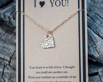 Heart Necklace - I Love You Necklace - Gold Heart