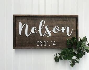 3D Custom Last Name Sign with Date Established