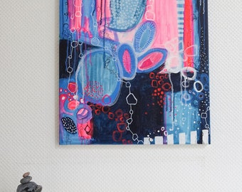 original acrylic painting on canvas, neon pink, blue, wild and chaotic, colorful contemporarypainting