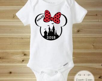 Disney Onesie, First Disney Trip Onesie, First Disney Vacation Onesie, Baby First Disney, Personalized Disney Onesie, Minnie Disney Onesie