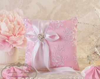 Pink Ring Bearer Pillow, Wedding Ring Pillow, Ring Pillow, Ring Cushion, Ring Box, Lace Ring Pillow, Ring Bearer, Wedding Ring Cushion