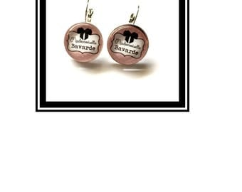 "Earrings original and funny,""Miss Chatterbox"" pink bow, funny, MOM """