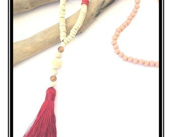 Pastel & red tassel Mala necklace / boho necklace Natural zen stone wood pink lass beads black tassel