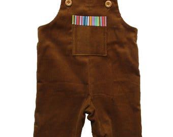 Brown Corduroy Boho Dungaree
