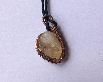 Citrine Copper Wire Wrap Necklace