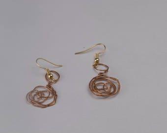Earrings, handmade, copper forging, gift, originality,