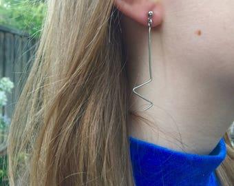 """Silver Wire """"Lightning"""" Statement Earrings"""