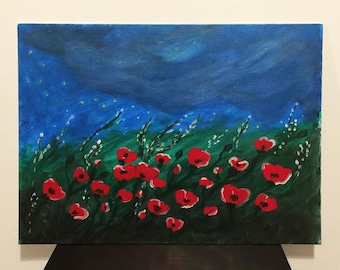 Poppyseed Field Painting, Poppy Seed, Flower Field Painting, Poppies, Peaceful Night, Stars Grass and Red Flowers