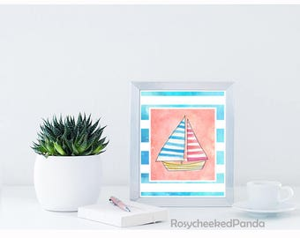 Watercolor boat print,Printable wall art print,nautical art,marine ship,boys girls nursery print,travel,instant digital download,blue pink