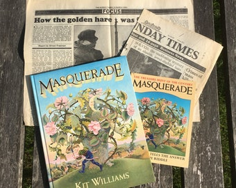 Masquerade by Kit Williams. Treasure hunt book with vintage newspaper articles and The Answer to The Riddle book. Search for The Golden Hare
