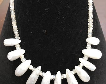 Moonstone elongated drops statement necklace