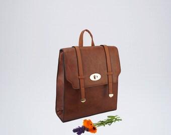 Brown backpack, Canvas backpack, Women Bag, Backpack for women, Hand made bag, College backpack, Eco leather bag, Rucksack, Travel bag