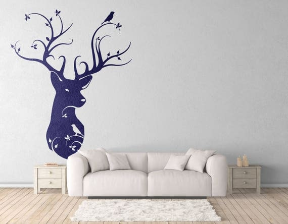 Naturalist Style Deer Head - Wall decals for magical minds, Nature - Birds - Home Decor, Interior Design, Mystic collection