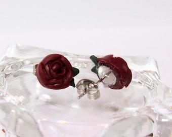 Miniature Red Rose Stud Earrings Handmade polymer clay charms - Horror jewelry - gothic jewelry - Halloween earrings - Creepy earrings - fun