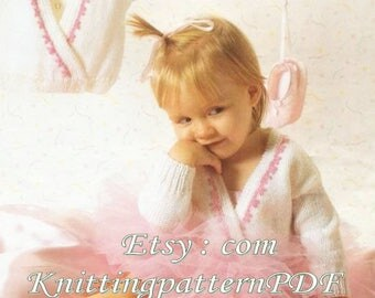 Baby Knitting Patterns Double Breasted Cardigan with Embroidery,DK  PDF instant download Pattern - 63