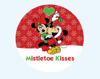 Mistletoe Kisses Minnie and Mickey - Merry Christmas Disney Inspired Button - Happy Holidays Button