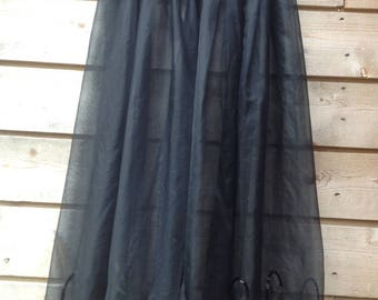 vintage chiffon skirt with velvet waistband and sequin hem