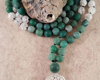 Prayer Chain (Mala) from Agate 8 mm, rock Crystal 8 mm and Flower of life-925 silver