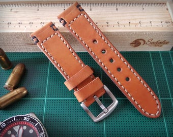 Handmade Watch Strap Genuine Leather Wrist Brand Brown22/20mm By Sahalee HandiCraft