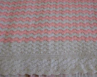 Wavy shell crochet baby/toddler blanket, ready to ship!